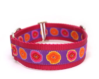 "1.5"" Poppin' with the poppies  buckle or martingale dog collar"