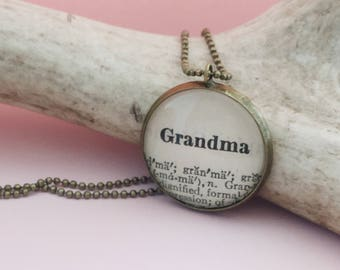 Grandma Necklace, Gift from Grandchild for Nana or Grandmother to be, Vintage Dictionary Definition Jewelry