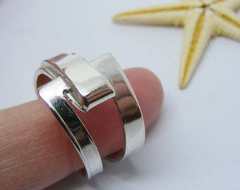 New Sterling Silver Abstract Ring, size P 1/2, us size 8, Art Deco Ring