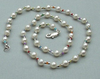 Rainbow pride freshwater pearl necklace 18 1/4 inches