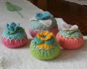 pincushion / hand embroidered / merino felt pincushion / size medium A / golden yellow and green