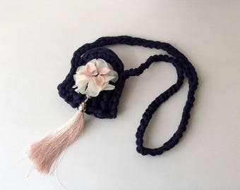 Boho crochet small bags necklace with silk tassel