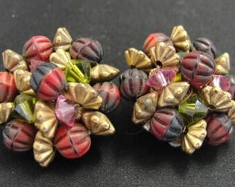 Beautiful Gold Tone Pink Green Beaded Clip Earrings