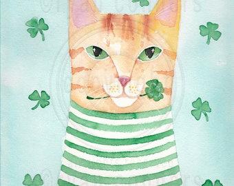 Saint Patrick's Day Kitty Original Cat Folk Art Watercolor Painting