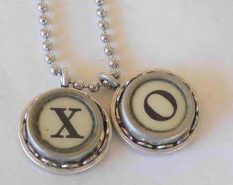 SALE Typewriter Key Necklace, XO, Vintage, Hugs and Kisses, Valentine's Day Gift