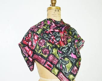 SALE Jeanne Lanvin Castillo silk scarf-hand print scarf abstract 40s scarf -pink flowers scarf