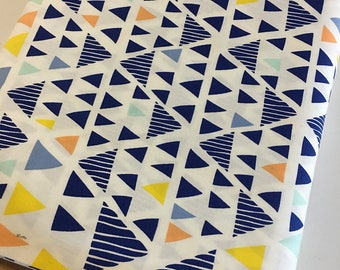 Boho Fabric, Geometric fabric, Mojave Fabric, Tribal, Triangle fabric, Navy fabric, Leah Duncan for Art Gallery- You Choose the Cut