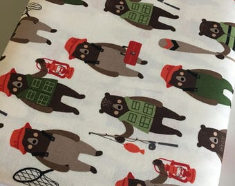 Brawny Bears Fabric, Fat Quarter to Yardage, Quilting Fabric, Bear Fabric, Camping, Hiking, Boy Quilt, Bears in Adventure, Choose the cut