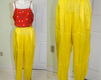 Vintage 1970's/80's Alke Boker Yellow Silk Harem Parachute Pants