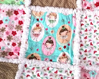 Fairy Rag Quilt, Toddler Blanket, Little Girl, Pink, Green, Aqua, Bows, Flowers, Flannel, Ready to Ship
