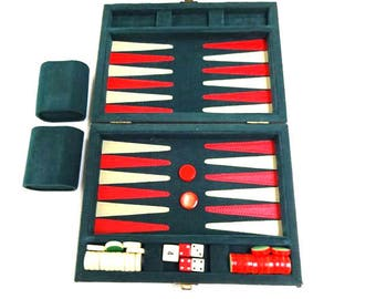 Vintage Game Small Backgammon portable 1950's 1960's, Good Clean Vintage Condition, velvet and leather Compact Traditional British Style.