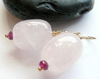 Artisan Pink Quartz Pink Garnet Gold Gemstone OOAK Valentines Love Hippie Boho Festival Gift for Her Earrings