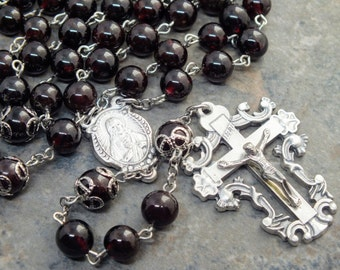 Garnet Gemstone Rosary; Sacred Heart; January Rosary; 5 Decade Rosary; Birthstone Rosary; Large Size Rosary; Catholic Rosary