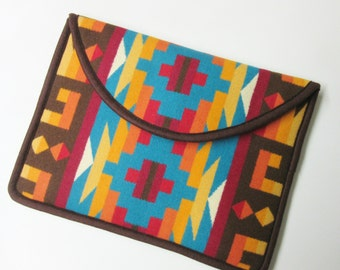 """13"""" MacBook AIR or Macbook Pro RETINA Laptop Cover Sleeve Case Colorful Southwest Blanket Wool from Pendleton Oregon"""