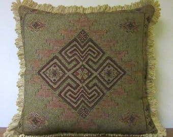 Large Tapestry Decorator Pillow Floor Pillow Sofa Chair Pillow Chenille Looped Fringe Euro Pillow
