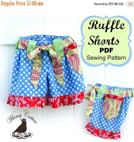 35% SALE Girls Ruffle Shorts Pattern Sewing Tutorial with option for flat front many sizes PDF Instant
