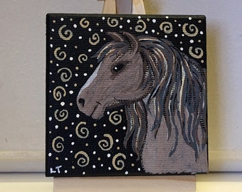 Mini Folk Art Painting - 3 X 3 Canvas With Mini Easel Display - Tan Equine - Horse - Pony - FREE USA SHIPPING