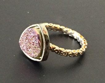 Dara Ettinger NADIA Druzy Ring in Antique Silver/ Firefly Druzy Triangle sz 5.25