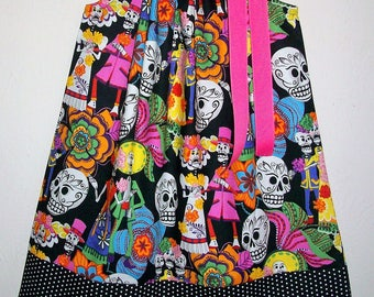 Girls Dress Pillowcase Dress with Skulls Day of the Dead Los Novios Alexander Henry Goth Dress Skeleton dress Skulls Dress Halloween Dress