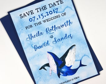 Blue Watercolor Whales Beach Destination Save the Date