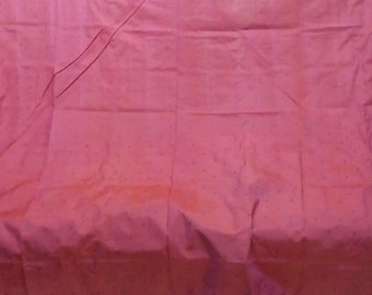 Geometric Foliage Pattern in Fuschia-Rose, Somewhat Changeant (Shot Silk): Vintage Indian Traditional Weaving  BTY
