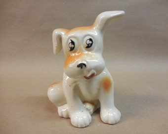Vintage Sweet little Floppy eared Puppy Planter remade into a Pin Cushion, Made in Japan