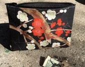 "Black Cherry Blossom Cotton Print 7"" Coin bag, Cosmetic Case, Make Up bag, i phone Case"
