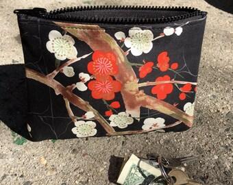 "Black Cherry Blossom Cotton Print 7"" Coin bag, Cosmetic Case, Make Up bag, i phone Case"