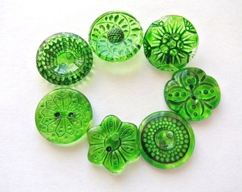 7 Vintage Czech glass buttons, 7 flowers and dots designs hand painted in green shade