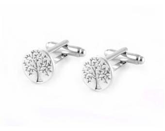 Tree Cufflinks, Tree of Life Cufflinks, Men Silver Fathers Wedding Birthday Gift