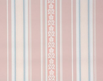 1940s Vintage Wallpaper by the Yard - Pink Blue and White Stripe
