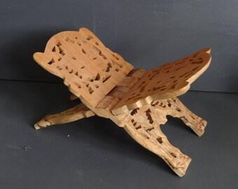 Carved Wood Book Holder Book Stand Leaf Design