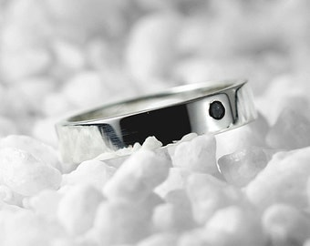 Black Diamond Band 14k White Gold Mens and Womens Personalized Wedding Ring