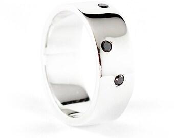 Black Diamond Ring 14k White Gold Wedding Band for Men and Women