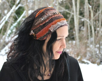 Sacred Geometry Headband,EARTH TONES Dread Wrap with adjustable ties by Intergalactic Apparel
