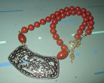 Last Call.....Vintage Sarah Coventry Rust Orange Bead with Geometric Pendant Necklace