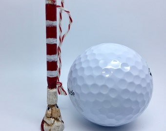 Primitive Carved Santa Golf Tee Christmas  Ornament, Miniature Santa, Golfer Gifts, Folk Art