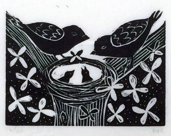 Birds in Nest, linoleum block print by Ruchika Madan