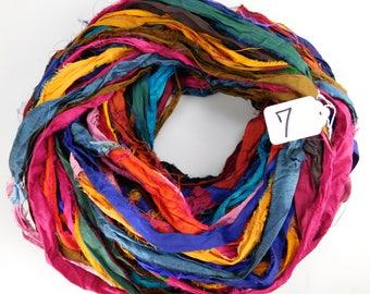 Sari Silk Ribbon, Recycled Silk Sari Ribbon, multi color ribbon, weaving supply, rug making supply, wrap ribbon, crochet supply