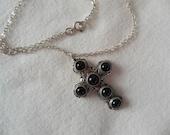 Vintage Onyx Sterling Silver Cross Pendant Necklace
