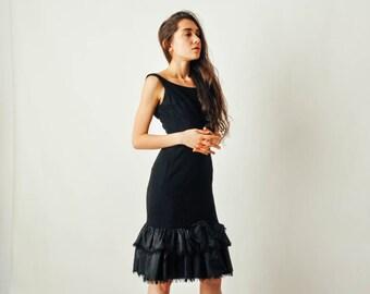 Vintage Black Marion Wolf Fishtail Dress