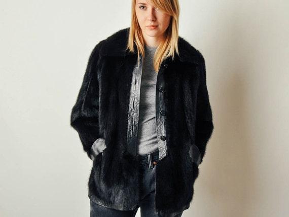 Vintage Black Mink Short Fur Coat