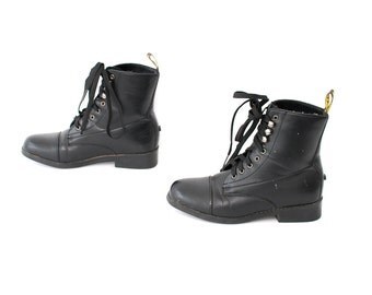 size 5.5 VEGAN black leather 80s 90s GRUNGE COMBAT lace up boots