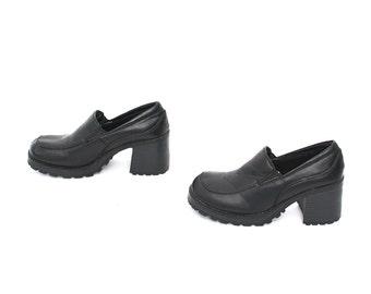 size 9.5 PLATFORM black 80s 90s CHUNKY GRUNGE club kid loafer slip on boots