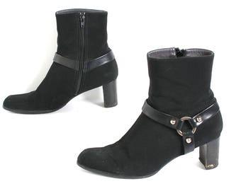 size 8 PLATFORM black stretch 80s 90s MOTO MOD zip up high heel ankle boots