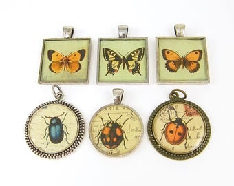 Butterfly Pendants, Insect Pendants, Bulk Lot of Assorted Butterfly and Insect Collage Resin Pendants Jewelry Charms |GR2-3|6