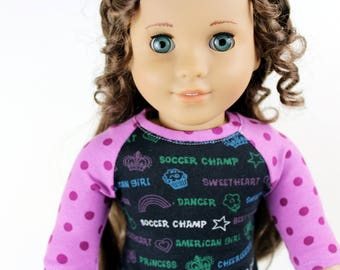 Fits like American Girl Doll Clothes - Princess / American Girl / Dancer / Soccer Champ / Sweetheart / Cheerleader / Cutie Baseball Tee