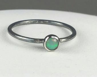 Multi Color Opal Ring, Size 6.5 Opal Ring, Natural Ethiopian Opal, Stacking Ring, Rustic Handmade, October Birthstone Maggie McMane Designs