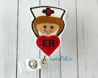 ER Nurse Badge Holder with Retractable Badge Reel handmade by SantaFeKiss
