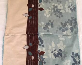2 Pillow Shams Standard Size Aqua Brown Tan Bit of Floral Cotton Linen Poly Blend